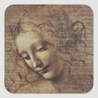 Head of a Young Woman with Tousled Hair or, Leda Square Stickers