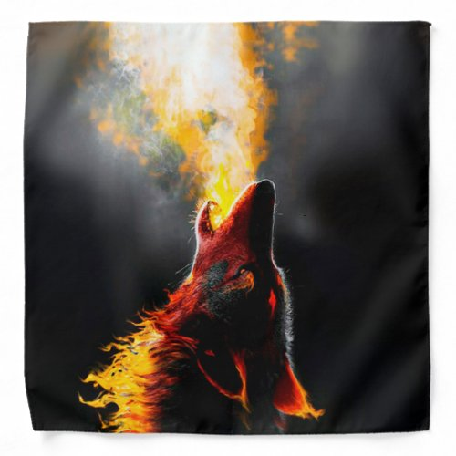 Head of Aggressive Fire Wolf Bandana