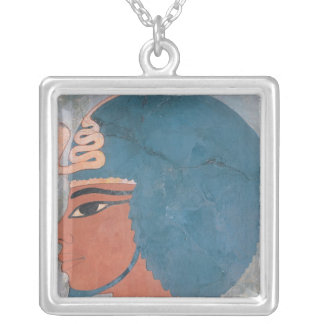 Head of Amenophis III from the tomb of Onsou Silver Plated Necklace