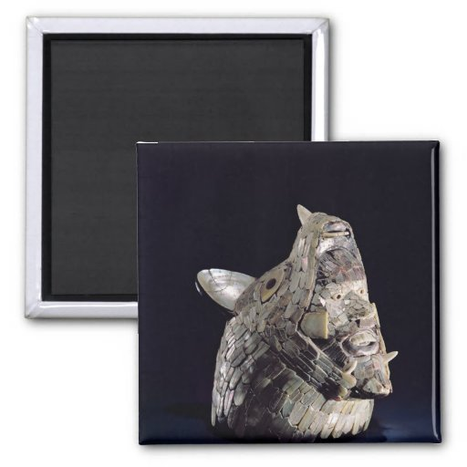 Head of an animal with human head in open jaws fridge magnets