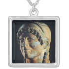 Head of an Etruscan Woman Silver Plated Necklace