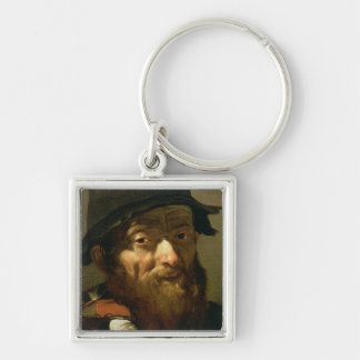 Head of an Old Man, detail of Portrait of an Old M Silver-Colored Square Keychain