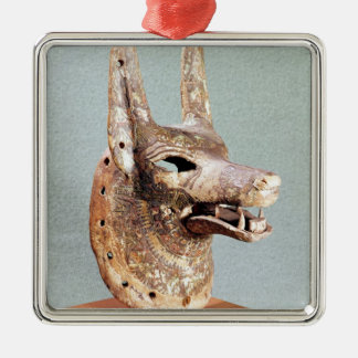 Head of Anubis, with a hinged jaw Square Metal Christmas Ornament