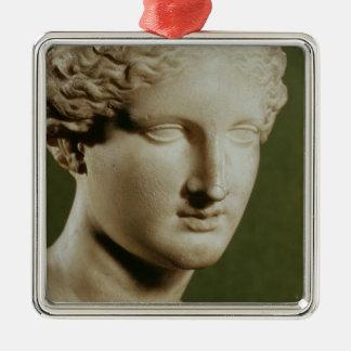 Head of Artemis Square Metal Christmas Ornament