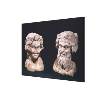 Head of Bacchus and satyr from a hermatic pillar Gallery Wrap Canvas