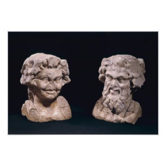 Head of Bacchus and satyr from a hermatic pillar Poster