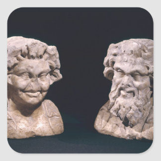 Head of Bacchus and satyr from a hermatic pillar Sticker