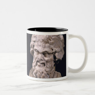 Head of Bacchus and satyr from a hermatic pillar Two-Tone Coffee Mug