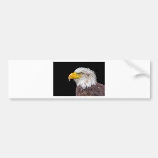 Head of bald eagle on black bumper sticker