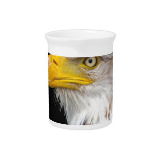 Head of bald eagle on black drink pitcher