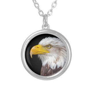 Head of bald eagle on black round pendant necklace