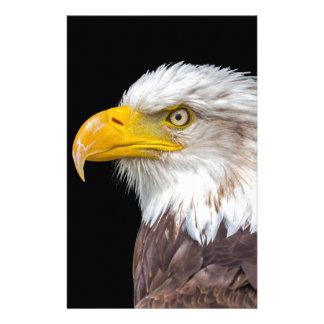 Head of bald eagle on black stationery