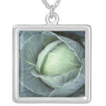Head of cabbage with drops of water square pendant necklace
