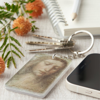 Head of Christ by Leonardo da Vinci Double-Sided Rectangular Acrylic Keychain