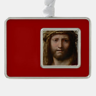 Head of Christ Correggio Silver Plated Framed Ornament