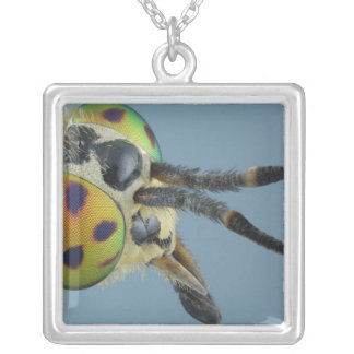 Head of deer fly silver plated necklace