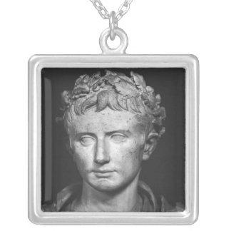 Head of Emperor Augustus Silver Plated Necklace