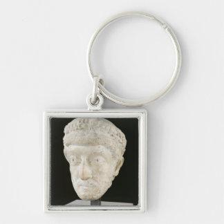 Head of Emperor Theodosius II Silver-Colored Square Keychain