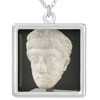 Head of Emperor Theodosius II Square Pendant Necklace