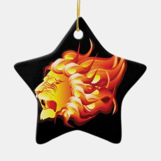Head of fire lion ceramic ornament