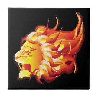 Head of fire lion ceramic tile