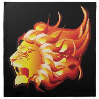 Head of fire lion cloth napkin