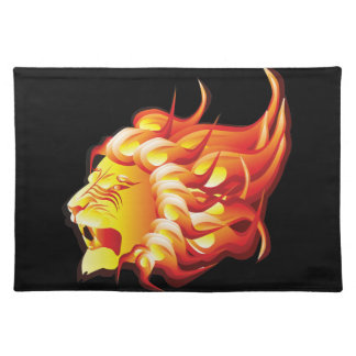 Head of fire lion cloth placemat