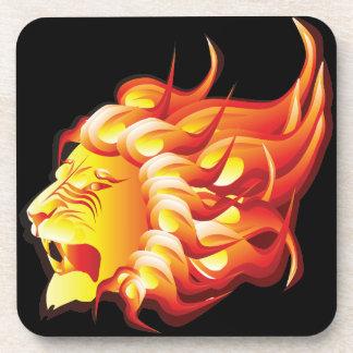 Head of fire lion drink coaster