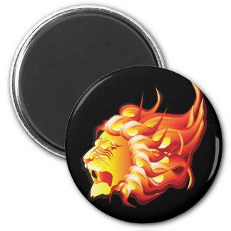 Head of fire lion magnet