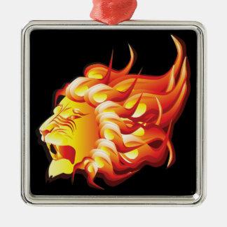 Head of fire lion metal ornament