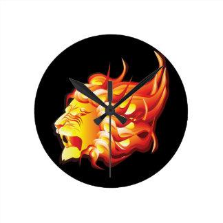 Head of fire lion round clock