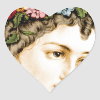 head of flower maiden heart sticker