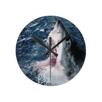 Head of Great White Shark Round Clock