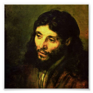 Head of Jesus By Rembrandt Poster