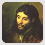 Head of Jesus By Rembrandt Square Sticker