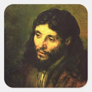 Head of Jesus By Rembrandt Square Sticker