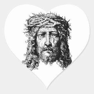 Head of Jesus Christ Heart Sticker
