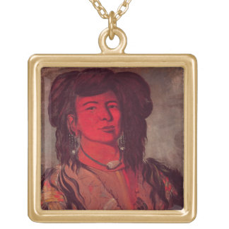 Head of Kate One Horn (oil on canvas) Necklace