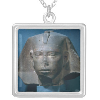 Head of King Djedefre, from Abu Roash, Old Silver Plated Necklace