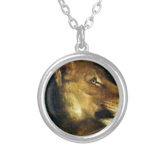 Head of lioness by Theodore Gericault Round Pendant Necklace