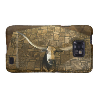Head of longhorn steer mounted on wall galaxy s2 covers
