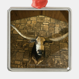 Head of longhorn steer mounted on wall square metal christmas ornament