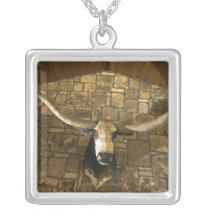Head of longhorn steer mounted on wall silver plated necklace