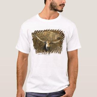 Head of longhorn steer mounted on wall T-Shirt