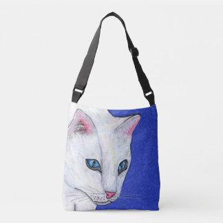 Head of Pretty White Cat Light Blue eyes Pink Nose Crossbody Bag