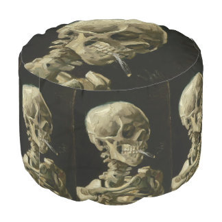 Head of Skeleton with Cigarette by Van Gogh Round Pouf