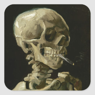 Head of Skeleton with Cigarette by Van Gogh Square Sticker