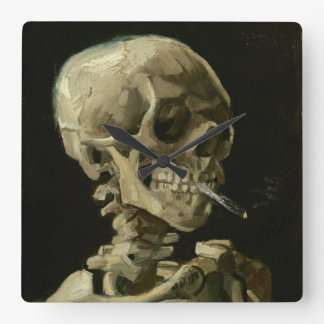 Head of Skeleton with Cigarette by Van Gogh Square Wall Clock
