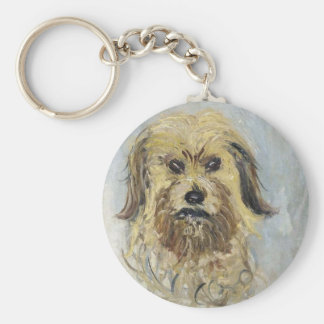 Head of the Dog by Claude Monet Basic Round Button Keychain