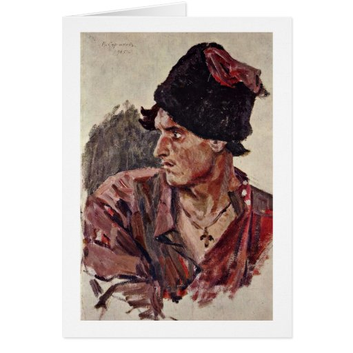 Head Of Young Cossack By Surikov Vasily Ivanovich Greeting Card